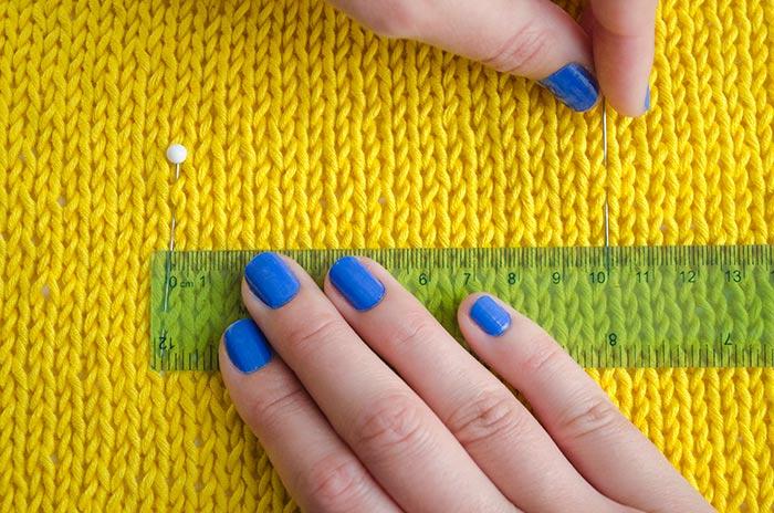 Mesurer un échantillon de tension tricot